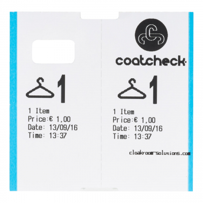 CoatCheck cloakroom tags 14 rolls of 325 tickets white/blue