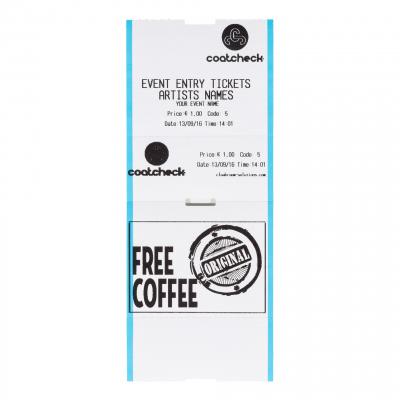 Coatcheck Eintrittskarte CoatCheck Konzert/Eintrittskarten zweiteilig mit voucher Gutschein, 14x260 Tickets, weiß blau