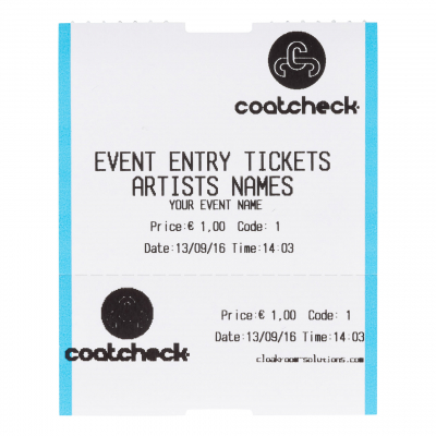 CoatCheck rol, Entreetickets met controlestrook, 14x 260 tickets, wit/blauw