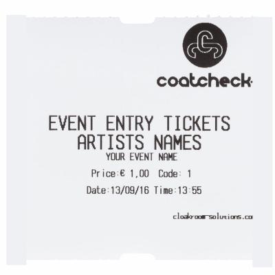 CoatCheck rol, Entreetickets economy zonder controlestrook, 14x600 tickets