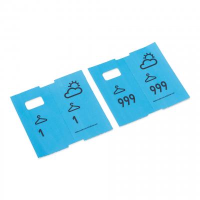 1000 vorgedruckte Garderobenmarken, blau