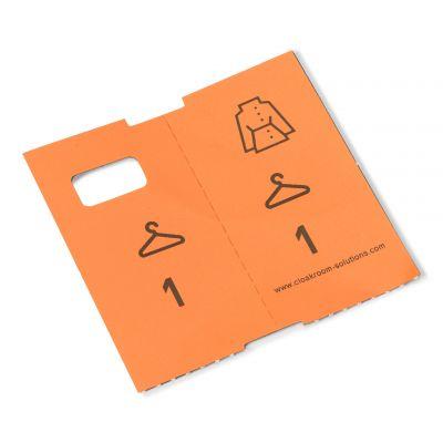 1000 vorgedruckte Garderobenmarken, orange