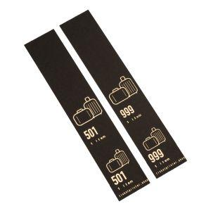 500 selbstklebende Gepäckanhänger vorgedruckt, Schwarz mit Golddruck, Serie 501-1000