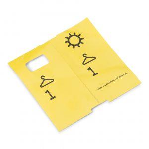 1000 vorgedruckte Garderobenmarken, gelb